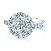 14k White Gold Diamond Halo Cluster Ring Round Cut Natural Womens 1.17 Tcw
