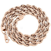 10k Rose Gold Solid 6mm Diamond Cut Rope Link Chain Shiny Statement Necklace 22