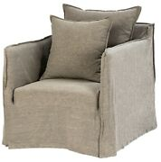 30 W Franca Chair Wooden Frame Flanged Edge Grey Fabric Slipcover