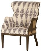 28 W Enrica Occasional Chair Solid Hardwood Frame Exposed Nails Triangle Fabric