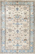 One-of-a-kind All-over Muted Beige Blue Heriz Oriental Handknotted 7x10 Area Rug