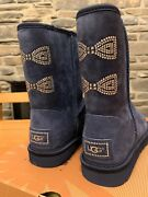 Ugg Classic Short Crystal Bow Boots Navy Blue Size 7