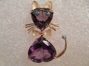 Vintage 18k 2 Tone Iolite And Turquoise Cat Brooch Italy Wt 10.7 G Not Scrap