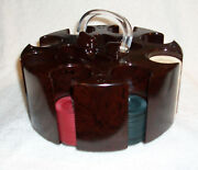 Vintage Clay Poker Chips In Marbled G P St. Louis Rotating Caddy Tray W/ Cover