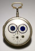 Rare Antique Verge Fusee Pocket Watch Ca1810 With Day-date Sweep Center