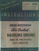 Montgomery Ward Wisconsin Wmc-ak-58702 Engine Tractor Owner Service Parts Manual