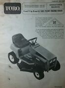 Toro Riding Lawn Mower Tractor 8 11 Hp 32 Owner And Snow Thrower Parts 2 Manual S