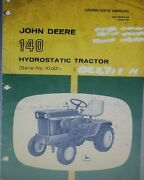 John Deere 120 140 Lawn Garden Tractor And 49 Snow Thrower Impl Owners 2 Manual S