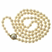 Vintage 7.5mm 30 In Japanese Cream Color Akoya Mobe Cultured Pearl Necklace