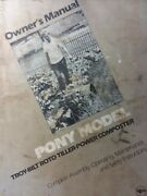 Troy-bilt Pony Roto Tiller Tractor Owners And Parts 2 Manual S Garden-way 1982