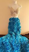 2 Pc Blue And Silver Rosette Jewel Bralette Mermaid Maxi Skirt Wedding Set Party