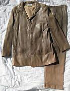 Vintage Karl Lagerfeld Leather Jacket And Pants Couture Suit Set Coat Retro