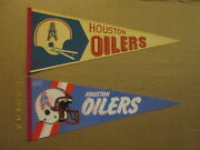 Nfl Houston Oilers Vintage 1970and039s 2 Bar Helmet And 1980and039s 2 Bar Facemask Pennants