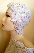 Gatsby 20's Beaded Lace Crystal Flapper Bridal Wedding Headpiece Hat Belly Dance