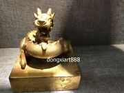 7 Chinese Pure Bronze 24k Gold Imperial Royal Spiral Dragon Seal Stamper Signet