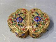 Chinese Copper 24k Gold Wire Inlay Gemstone Butterfly Flower Jewelry Casket Box
