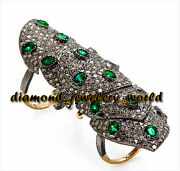 6.89ct Pave Rose Cut Diamond Emerald Studded Silver Antique Knuckle Ring Jewelry