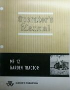 Massey Ferguson Mf 12 Garden Tractor And 620 Snow Thrower Owner 2 Manuals 64pg