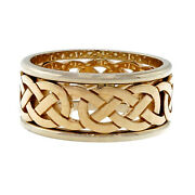 Celtic Repeating Design Yellow White Gold 9mm Wide Cut Out Wedding Band Ring Psd