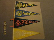 Ncaa Lot Of 4 Vintage 1970's Georgia Tech Princeton Notre Dame And Army Pennants
