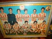 Vintage Extra Rare Greek Olympiakos Football Team Litho Frame Poster From 70s