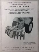 Sears Suburban Three-point Hitch 917.251781 Garden Tractor Owner And Parts Manual