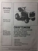 Sears Craftsman 18.0 H.p Lawn Tractor And 38 Mower Owner And Parts Manual 917.257481