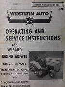 Wizard Western Auto 93-7420-8 Mtd 7420a67 Lawn Tractor Owner And Parts Manual 10