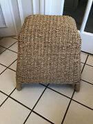 Antique Vintage Sturdy Bamboo And Wicker Footstool Stool Seat Furniture