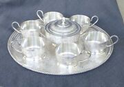 Antique 19c Islamic Persian Isfahan 84 Sterling Silver 8pc Tray Tea Set 47 Oz