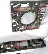 Hand Crafted Matching Mirror/shelf Fish Tiles Handmade Hangers Entryway Marbles