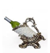Egyptian Silver And Pearl Wine Bottle Holder Table Mantle Centerpiece Decor Art