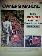 Troy-bilt Horse I Roto Tiller Garden Composter Owners And Parts 2 Manual S 1976