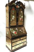 Oriental Furniture Gold Leaves With French Lacquer Deck With Book Case