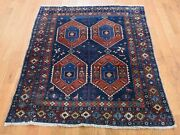 3and0396x4and0396 Navy Antique Farsian Ardubile Clean Even Wear Hand-knotted Rug R45470