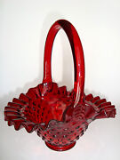 Rare Vintage Fenton Ruby Red Hobnail Glass Basket With Ruby Red Handle