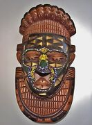 Hand Cut And Hand Carved Wood Manner Of Benin Queen Idiaand039s Mask W/ Brass And Beads