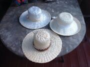 Three Vintage Straw Hats All Different One Is Marked Mr Lewis Other Union Made