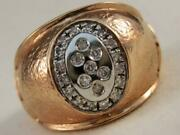 Fancy Modern Etoile Diamond 14k White And Rose Gold Oval Band Ring Italy Aur4321a