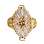 Vintage Carved Crystal Top Single Cut Diamond Filigree 14k Yellow Gold Ring