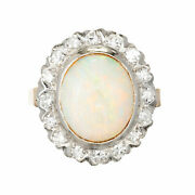 Vintage Fine 3.50ct Opal Ring 14k Gold With Diamond Accents