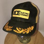 Vintage Ace Electric Company 70s 80s Black Yellow Trucker Hat Cap Snapback Patch