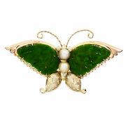 Vintage 1940 Butterfly Pin Carved Omphacite Jade Wings Pearls 14k Gia