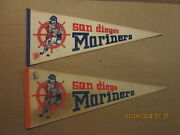 Phl Wha San Diego Mariners Vintage Defunct Lot Of 2 Different Hockey Pennants