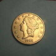 1905-s Gold 20 Liberty Double Dbl Eagle Coin Au+ 189