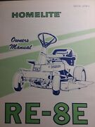 Homelite Re-8e Riding Lawn Tractor Owners Manual Simplicity Garden Mower Rear