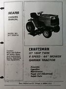 Sears Craftsman Gt 18 6sp 1988 Garden Tractor Owner And Parts Manual 917.255914 Hp