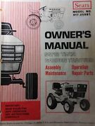 Sears Ss/18 Garden Tractor And Implement Attachments Owner And Parts 5 Manual S