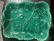 Antique Green Leaf Majolica Tray 9 1/2 Long, 7 1/2 Front To Back