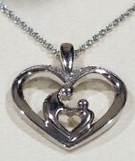 Fred Meyer Jewelers Diamond Heart Mother And Child Necklace. Nib